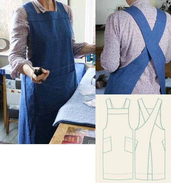woman wearing a blue cross back apron