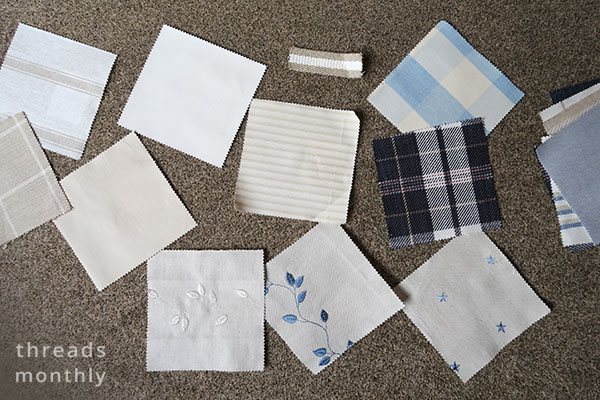 furnishing fabric sample squares in cream and blue colors
