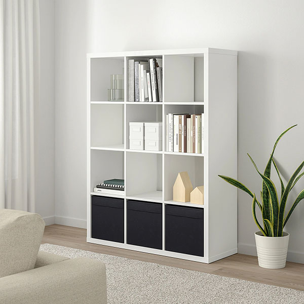 black and white ikea kallax book shelf