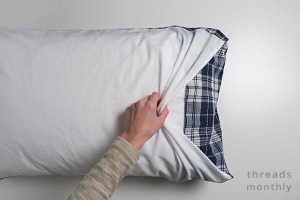pillowcase with white insert inside