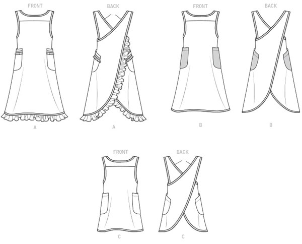 line drawings for cross-back apron sewing patterns