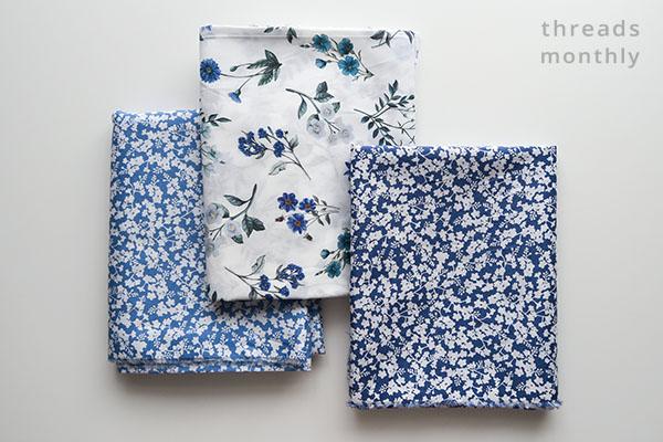 3 blue floral liberty london tana lawn cotton fabrics