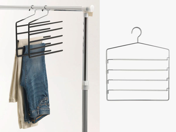 jeans hanging on pants hanger