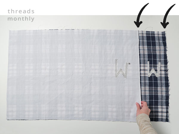 pillowcase edges with arrows pointing at them