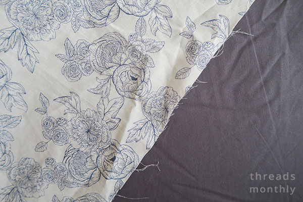 white fabric with blue florals pre-washed