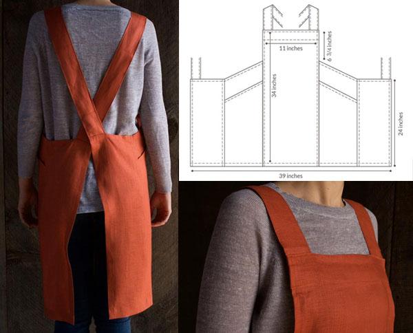 orange apron with cross back straps