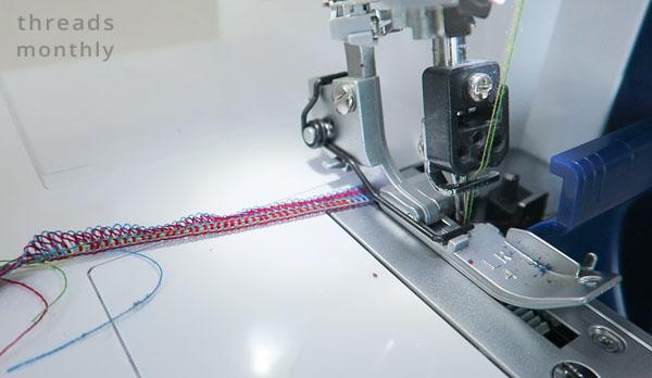 multi-colored serger thread chain