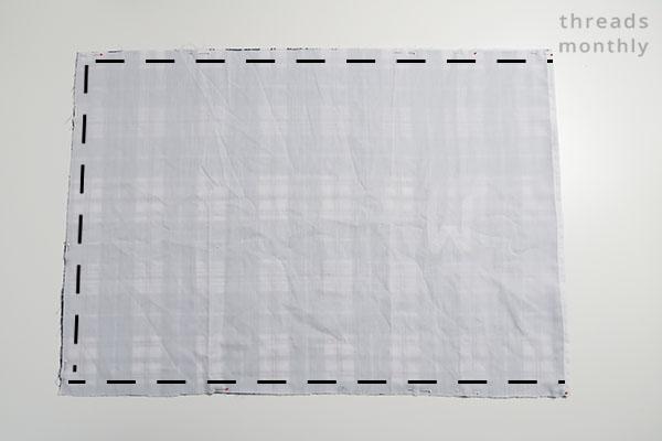 stitching lines on pillowcase fabric