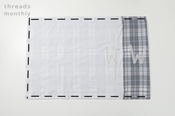 stitching lines on pillowcase with flap