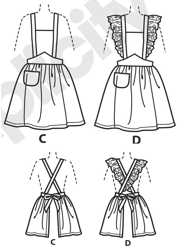 line drawings for vintage aprons with cross backs and ruffles
