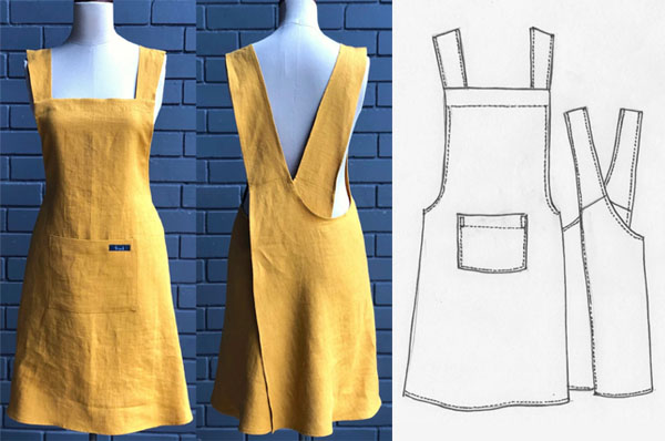 yellow cross back apron on mannequin