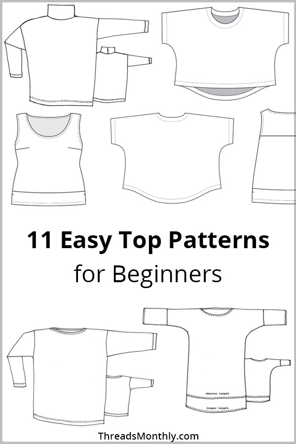 11 Easy Top Sewing Patterns for Beginners (6 FREE PDF's)