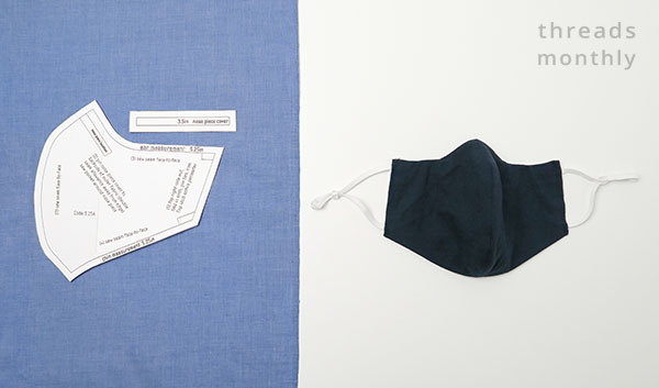 printable sewing pattern for a curved face mask with a center seam
