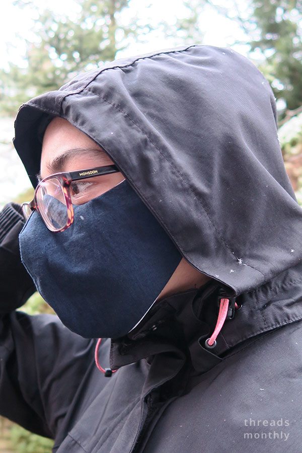 woman wearing a diy face mask with glasses