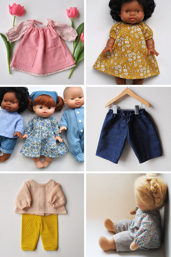 doll clothes, including tops, dresses, and pants