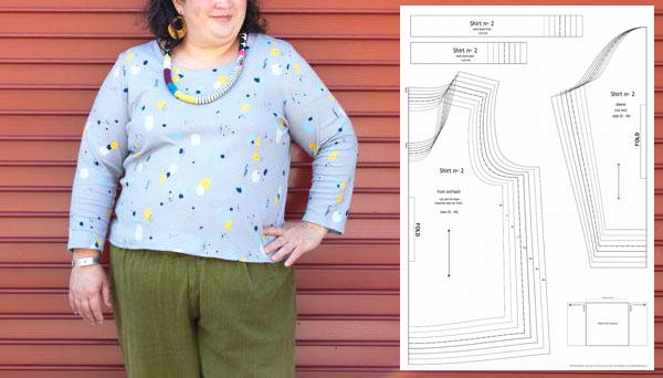 printed t-shirt with sewing pattern line drawings
