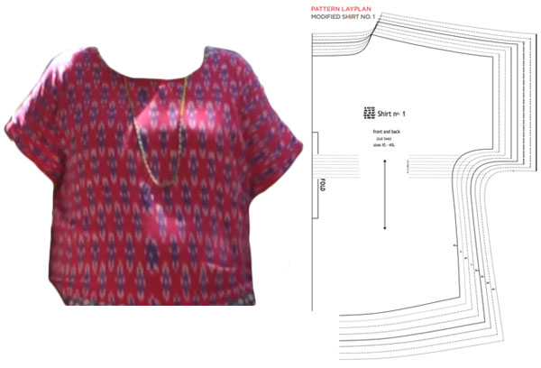 pink short sleeve top with pdf pattern line drawings