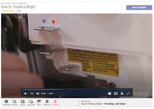 threading points on a serger