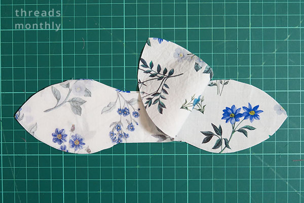 white floral bow fabric cut out