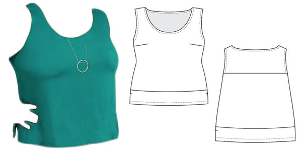 green tank top with sewing pattern line drawings