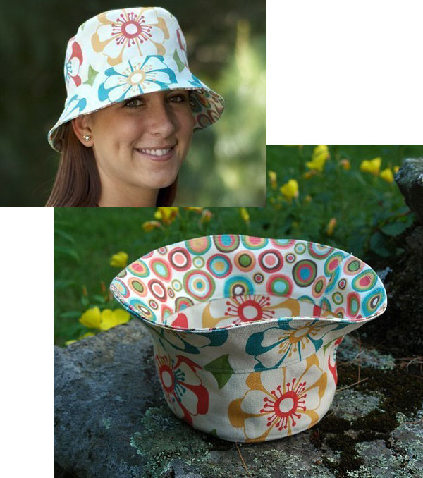 a woman wearing a floral diy bucket hat, and a bucket hat upside down.