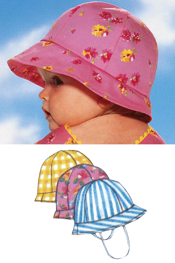 a baby wearing a pink floral bucket hat, and sewing pattern line drawings.