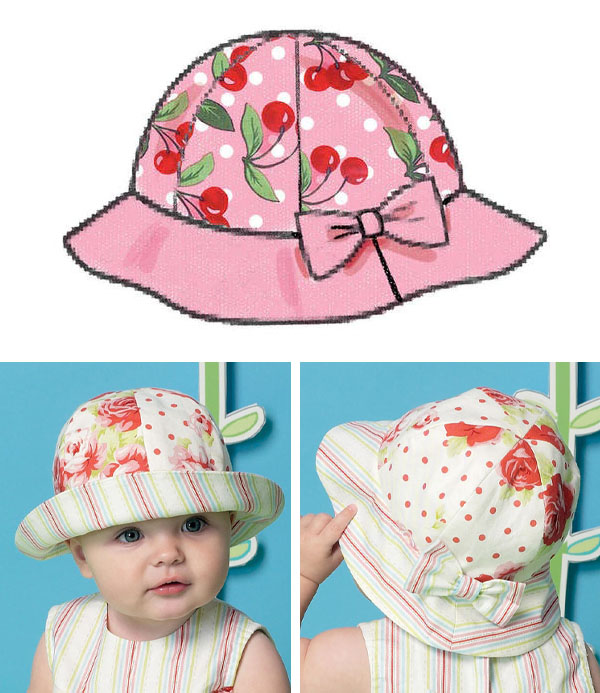 bucket hat with bow sewing pattern line drawing, and front and back view of a baby wearing a bucket hat.