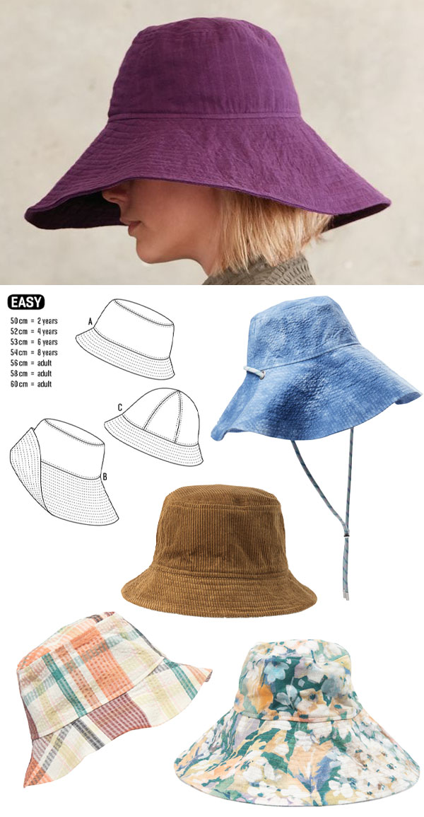 a woman wearing a purple bucket hat, sewing pattern line drawings, and 4 more diy bucket hats on a white background.