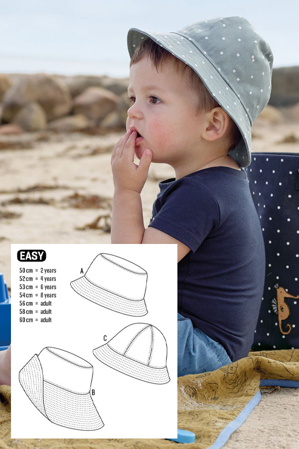 a toddler boy wearing a diy bucket hat, and sewing pattern line drawings.