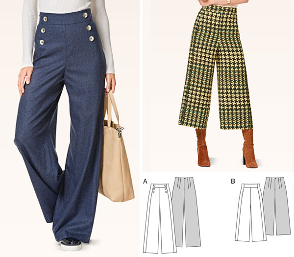 2 women wearing wide leg pants, and sewing pattern line drawings.