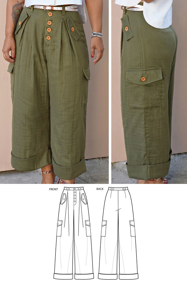 a woman wearing green cargo pants, and sewing pattern line drawings.