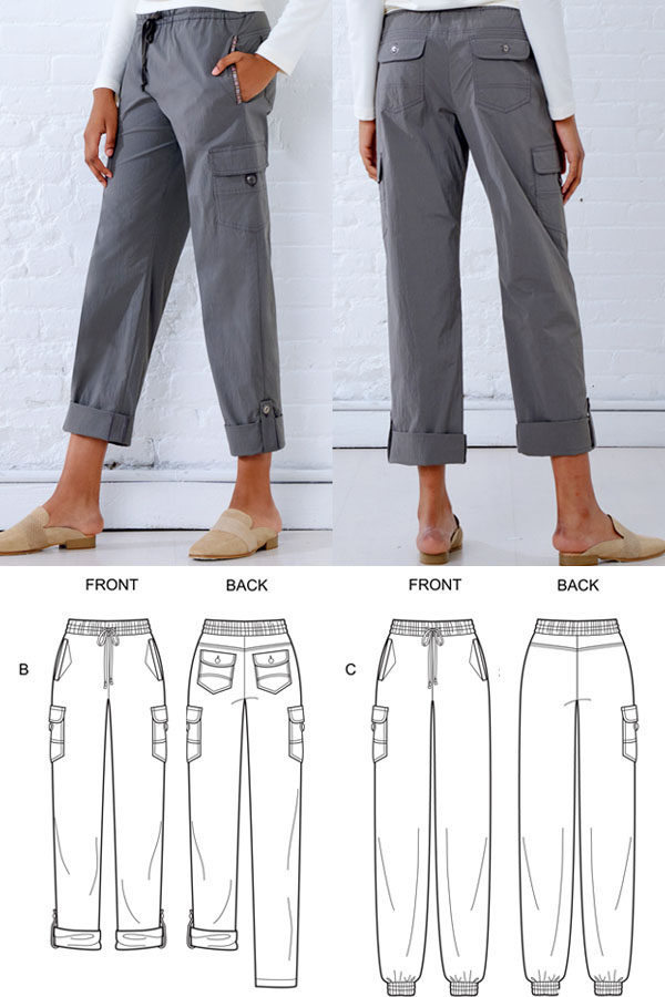a woman wearing grey cargo pants, and  sewing pattern line drawings.