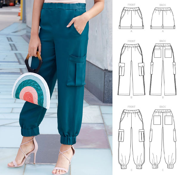 a woman wearing teal cargo pants, and sewing pattern line drawings.