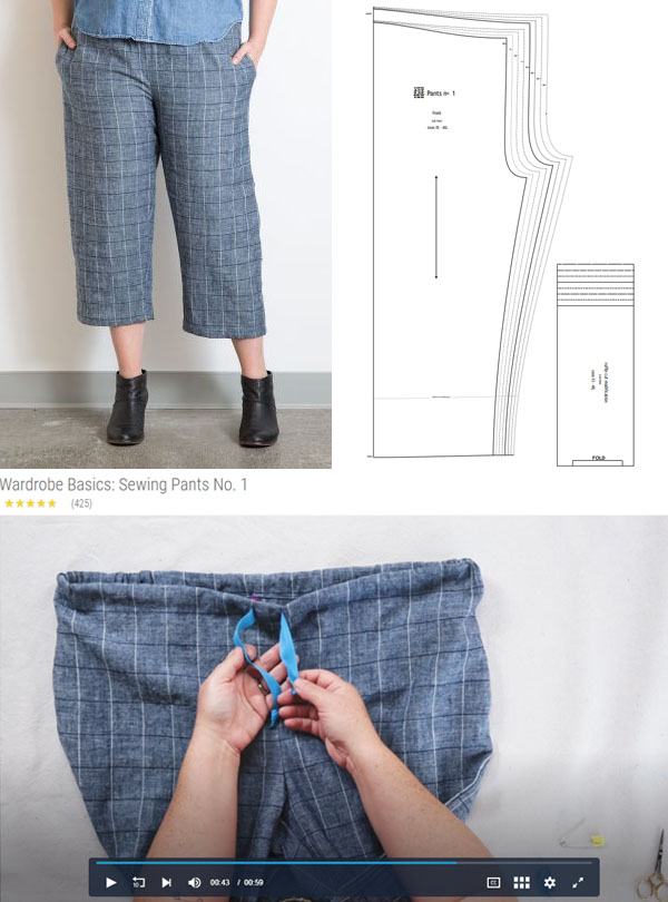 woman wearing grey check pants with a drawstring, and a sewing pattern line drawing for pants