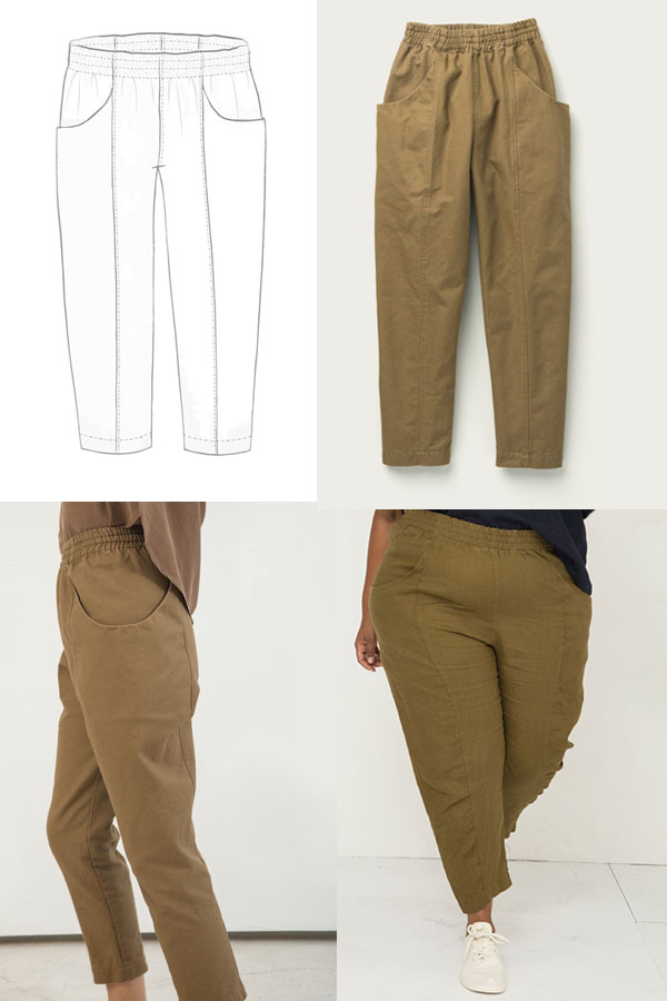 pants with pockets and high elastic waist worn by models and a sewing pattern line drawing