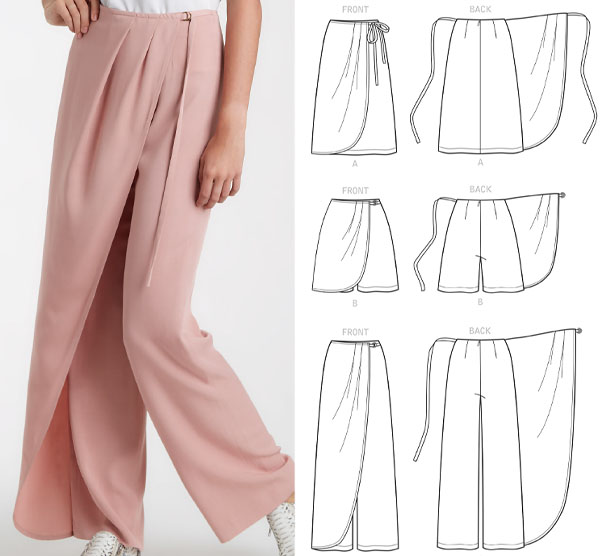 a woman wearing pink wrap pants, and sewing pattern line drawings.