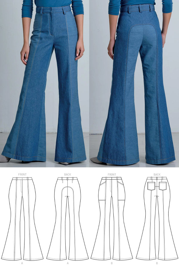 front and back view of a woman wearing blue denim flare pants, and sewing pattern line drawings.
