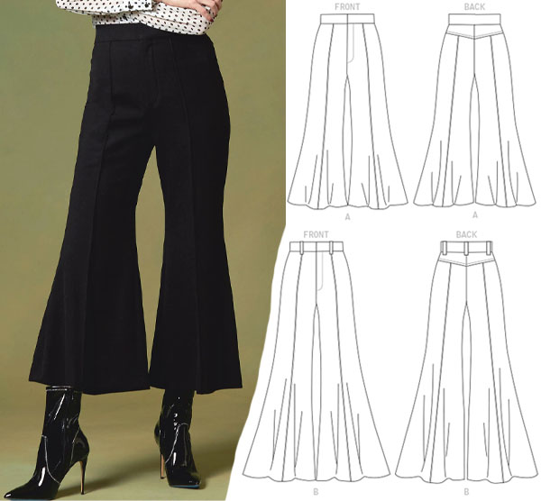 a woman wearing black flare pants against a green backdrop, and sewing pattern line drawings.