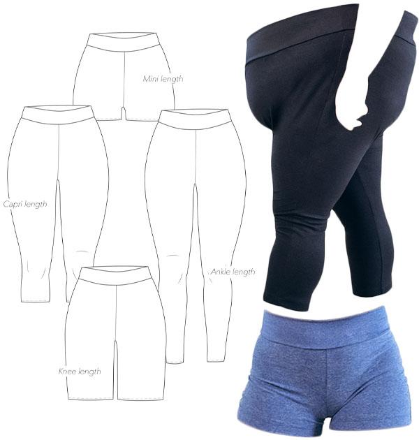 leggings sewing pattern line drawings, black leggings, and blue shorts.