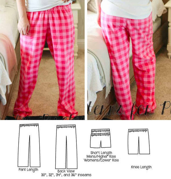 front and back view of a woman wearing pink check pajama pants, and sewing pattern line drawings.
