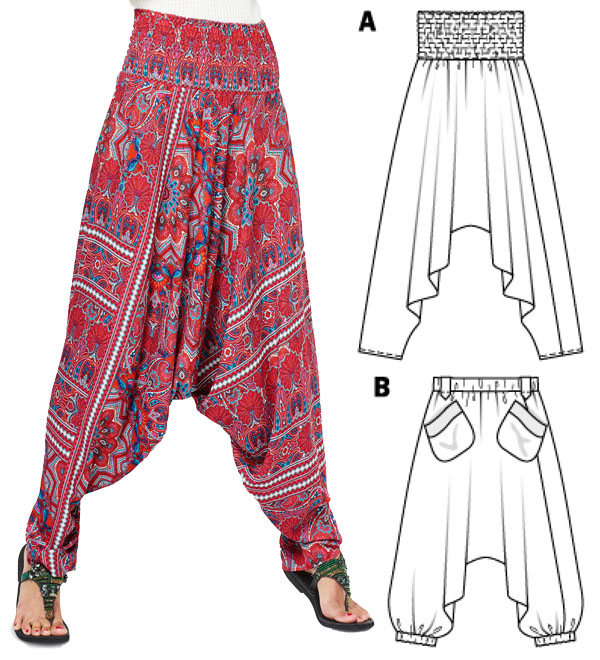 a woman wearing red harem pants, and a sewing pattern line drawing