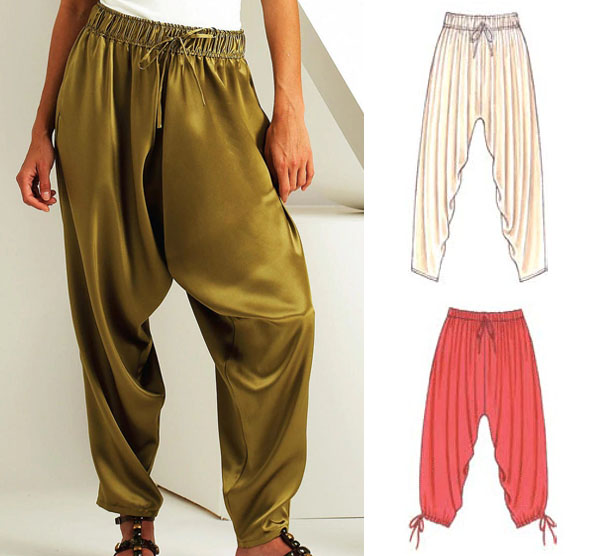 a woman wearing silky green harem pants, and sewing pattern line drawings.
