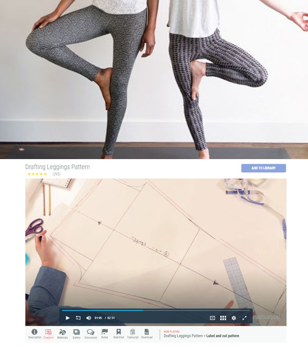 2 women wearing leggings and a paper sewing pattern