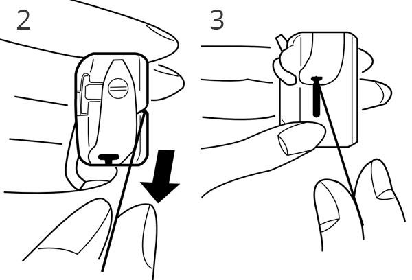 illustration showing bobbin being inserted into bobbin case