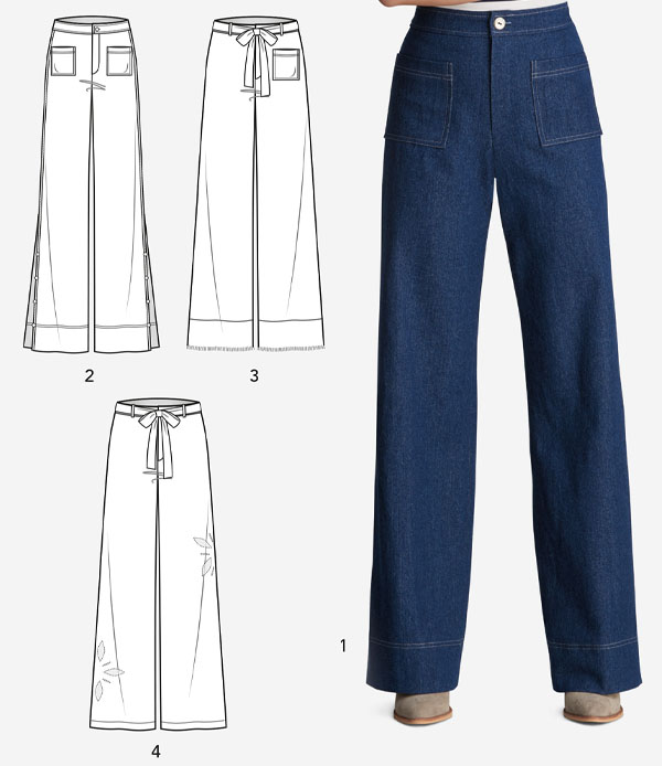 a woman wearing blue wide leg jeans, and sewing pattern line drawings.