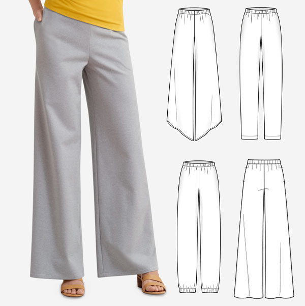 a woman wearing grey knit lounge pants, and sewing pattern line drawings.