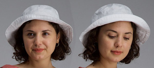 front and side view of a woman wearing a white bucket hat.