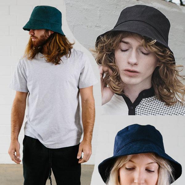 2 men and a woman wearing diy bucket hats.