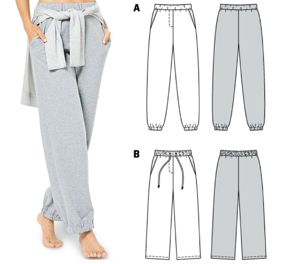 a woman wearing grey joggers, and sewing pattern line drawings.