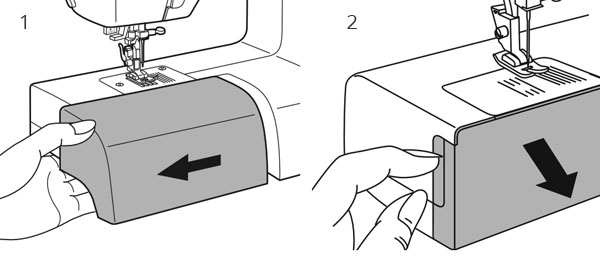 illustration of a hand opening bobbin covers on a front-loading sewing machine